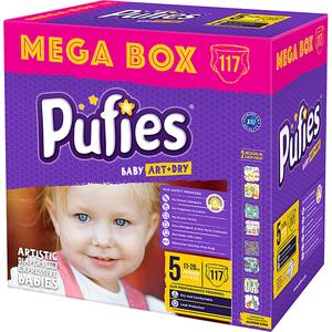 Scutece PUFIES Baby Art & Dry Mega Box Junior 5, Unisex, 11 - 20 kg, 117 buc