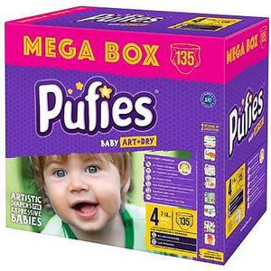 Scutece PUFIES Baby Art & Dry Mega Box Maxi 4, Unisex, 7 - 14 kg, 135 buc