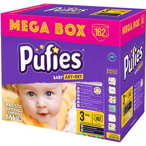 Scutece PUFIES Baby Art & Dry Mega Box Midi 3, Unisex, 4 - 9 kg, 162 buc
