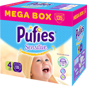 Scutece PUFIES Sensitive Mega Box Maxi 4, Unisex, 7 - 14 kg, 135 buc
