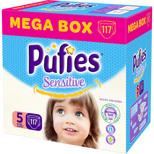 Scutece PUFIES Sensitive Mega Box Junior 5, Unisex, 11 - 20 kg, 117 buc