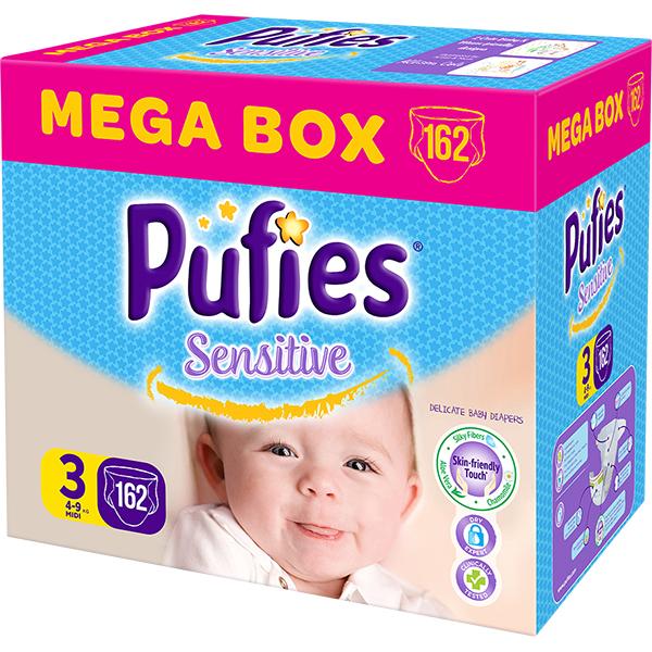 Scutece PUFIES Sensitive Mega Box Midi 3, Unisex, 4 - 9 kg, 162 buc
