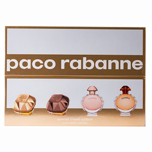 Set cadou PACO RABANNE: Apa de parfum Lady Million, 5ml + Apa de parfum Lady Million Prive, 5ml + Apa de parfum Olympea, 6ml + Apa de parfum Olympea Intense, 6ml