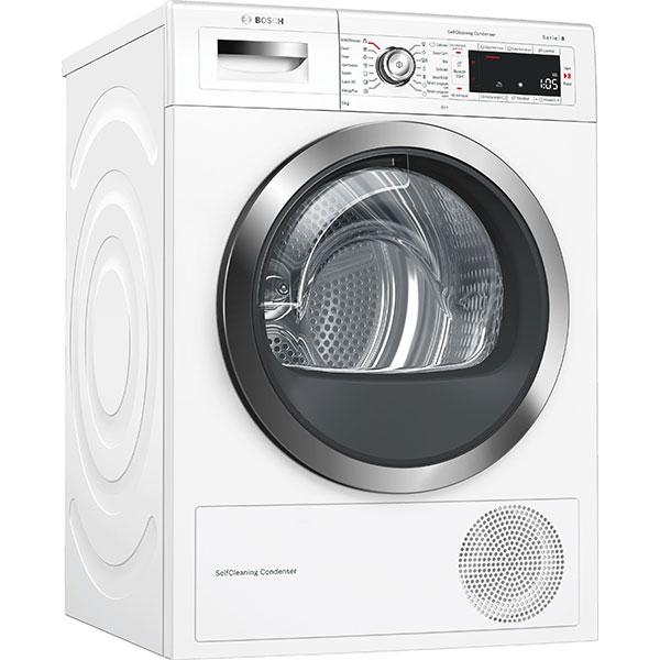 Uscator de rufe BOSCH WTW855H0BY, Home Connect, pompa de caldura, 9kg, A++, alb