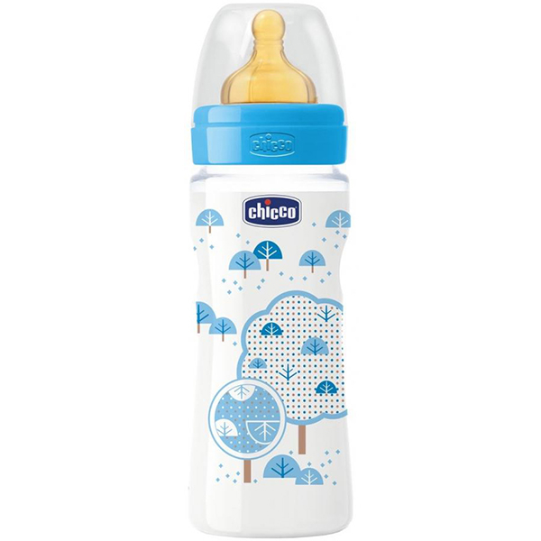 Biberon CHICCO WellBeing PP, flux rapid, 4 luni +, 330ml, albastru