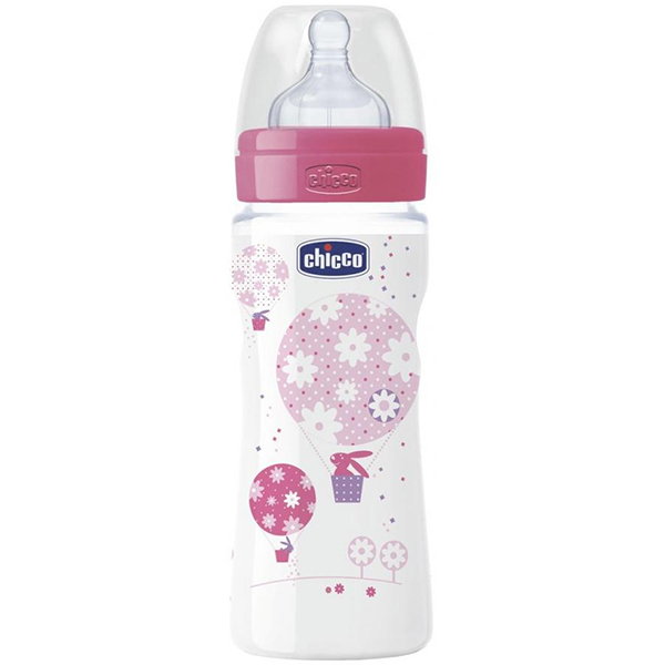 Biberon CHICCO WellBeing PP, flux rapid, 4 luni +, 330ml, roz