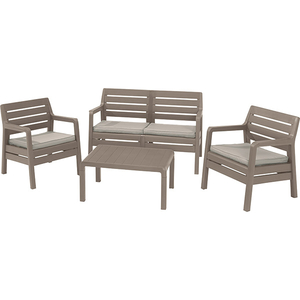 Set mobilier de gradina CURVER Delano 221537, 4 piese, Cappuccino / Sand