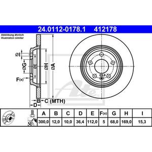 Disc frana spate ATE 24011201781, Audi