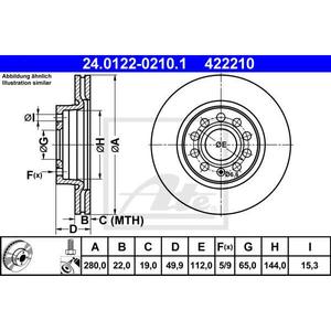 Disc frana fata STG/DR ATE 24012202101, VW, Skoda, Audi