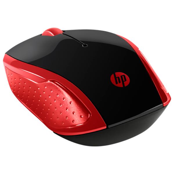 Mouse Wireless HP 200, 1000 dpi, negru-rosu