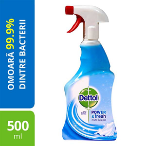 Spray dezinfectant DETTOL Trigger Power & Fresh, Linen & Aqua Sky, 500 ml
