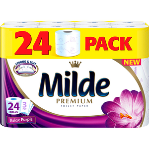 Hartie igienica MILDE Relax Purple, 3 straturi, 24 role