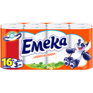 Hartie igienica EMEKA Linden Blossom, 3 straturi, 16 role