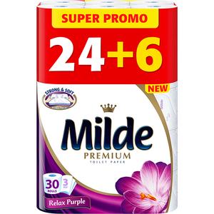 Hartie igienica MILDE Relax Purple, 3 straturi, 30 role