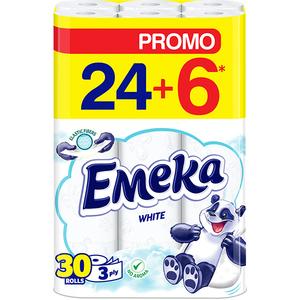 Hartie igienica EMEKA White, 3 straturi, 30 role