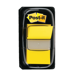 Index 3M Post-it Clasic, 25.4 x 43.2 mm, hartie, plastic, 50 foite, galben