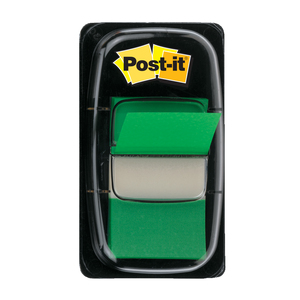 Index 3M Post-it Clasic, 25.4 x 43.2 mm, hartie, plastic, 50 foite, Verde