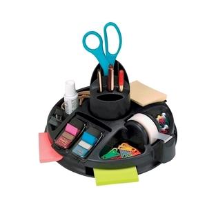 Suport accesorii birou 3M, echipat, rotativ, 20 compartimente, plastic, negru