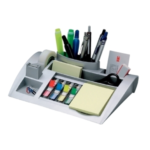 Suport accesorii birou 3M, echipat, 7 compartimente, plastic, argintiu