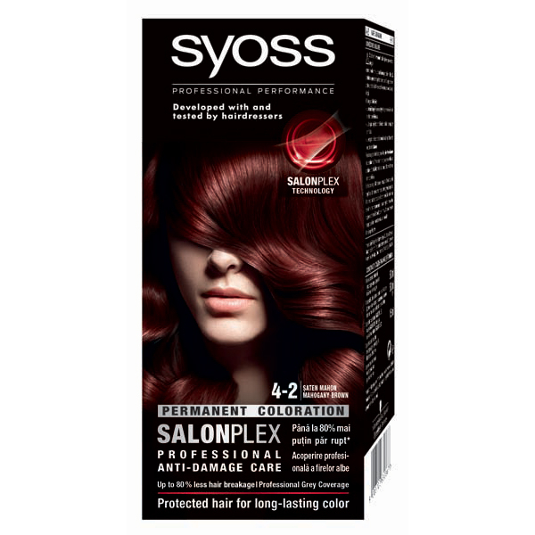 Vopsea de par SYOSS Color Bl, 4-2 Saten Mahon, 115ml