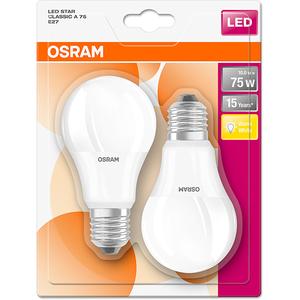 Set de 2 becuri LED OSRAM STAR CLA FR 75, 11W, E27, lumina calda