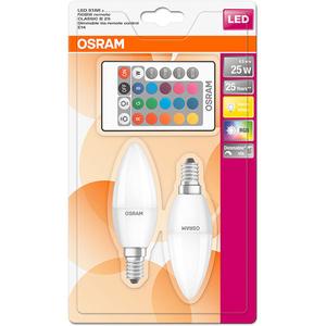 Set de 2 becuri LED RGB OSRAM B25, 4.5W, E14, Telecomanda