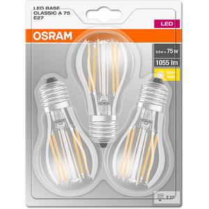 Set de 3 becuri LED OSRAM A75, 8W, E27, lumina calda