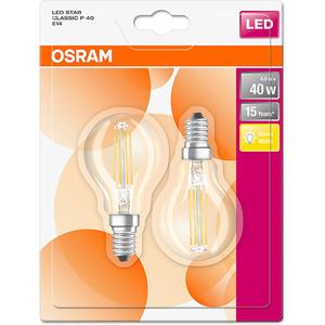 Set de 2 becuri LED OSRAM P40, 4W, E14, lumina calda