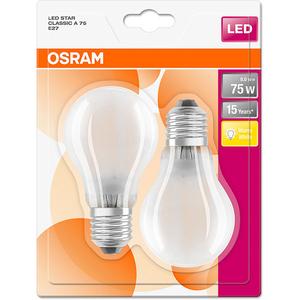 Set de 2 becuri LED OSRAM MAT A75, 8W, E27, lumina calda