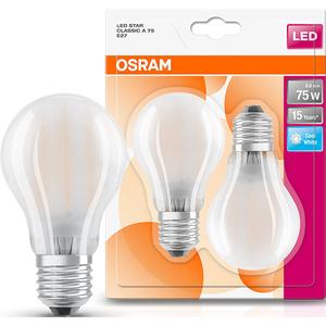 Set de 2 becuri LED OSRAM MAT A75, 8W, E27, lumina neutra
