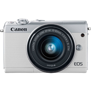Camera foto digitala mirrorless CANON EOS M100 + Obiectiv 15-45mm, Full HD, 24.2Mp, Wi-Fi, Bluetooth, alb