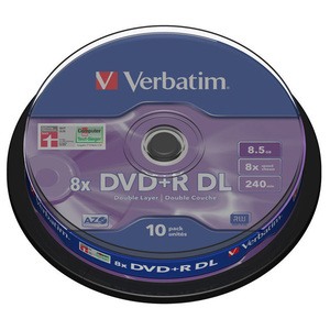 DVD+R VERBATIM 43666, 8x, 8.5GB, 10buc - Spindle