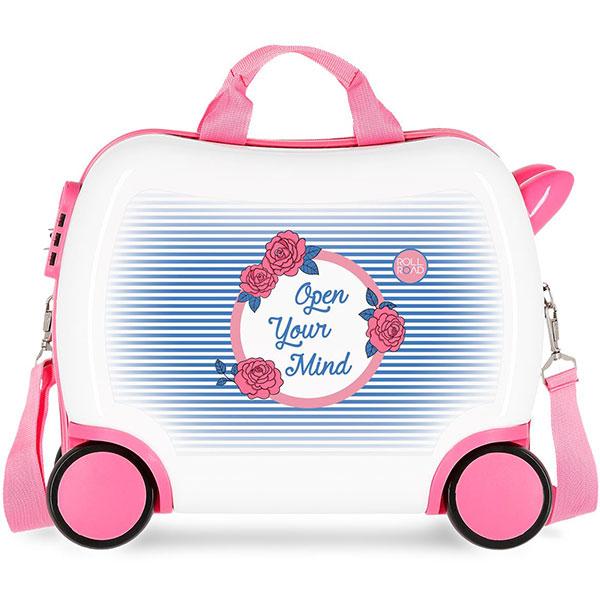 Troler copii ROLL ROAD Rose 44810.61, 41 cm, alb-roz