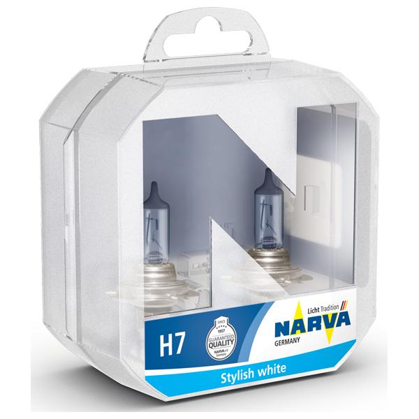 Set becuri auto far halogen NARVA 486382100, H7, Range Power Blue+, 12V, 55W, PX26D