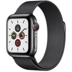 APPLE Watch Series 5 GPS + Cellular, 40mm Space Black Stainless Steel Case, Space Black Milanese Loop
