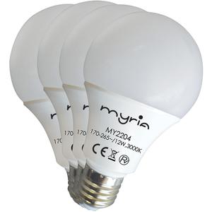 Set de 4 becuri MYRIA MY2204, 12W, E27, lumina calda