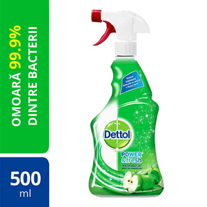 Spray dezinfectant DETTOL Trigger Power & Fresh, Sparkling Refreshing Green Apple, 500 ml