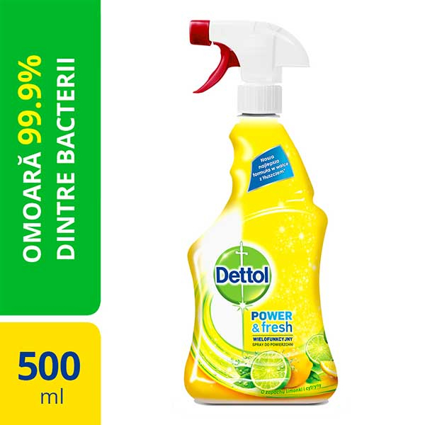 Spray dezinfectant DETTOL Trigger Power & Fresh, Sparkling Lemon & Lime Burst, 500 ml