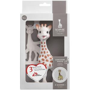 Set Girafa Sophie si inel dentitie VULLI, 0 luni+, alb-maro