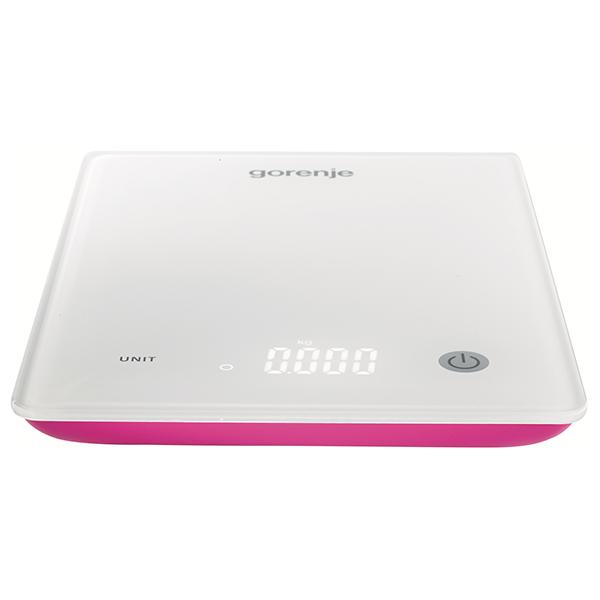 Cantar de bucatarie GORENJE KT10PR, 10 kg, LED, alb - roz