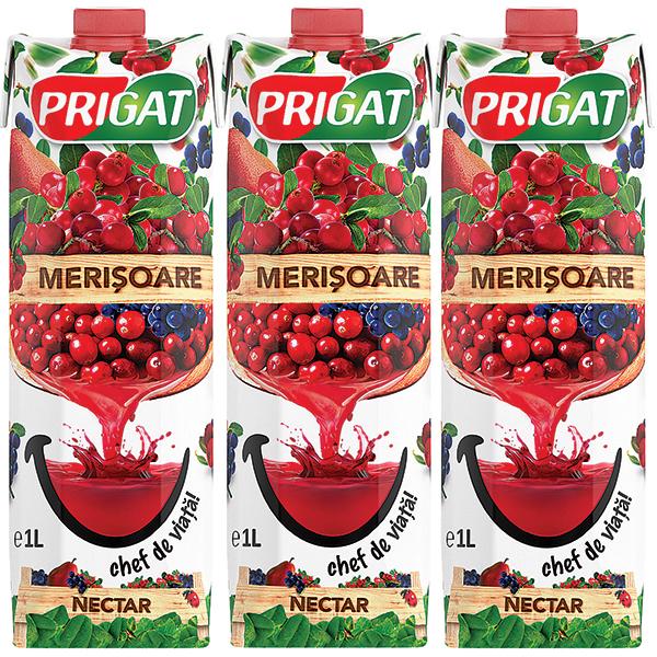 Nectar PRIGAT Merisoare bax 1L x 3 cutii