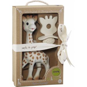Set girafa Sophie si figurina pentru dentitie VULLI So Pure, 0 luni+, alb-maro