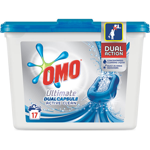 Detergent OMO Ultimate Active Clean Duo, 17 capsule, 17 spalari