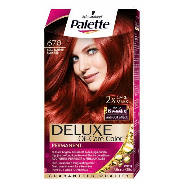 Vopsea de par PALETTE Deluxe, 678 Rosu Rubiniu, 115ml
