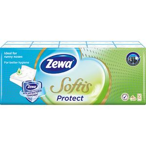Servetele nazale ZEWA Softis Protect, 4 straturi, 10 x 9 buc