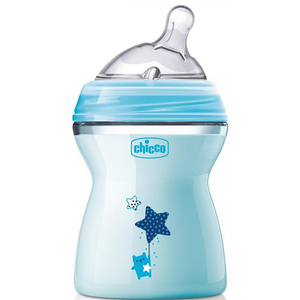 Biberon CHICCO Natural Feeling PureGlass, flux mediu, 2 luni +, 250ml, bleu