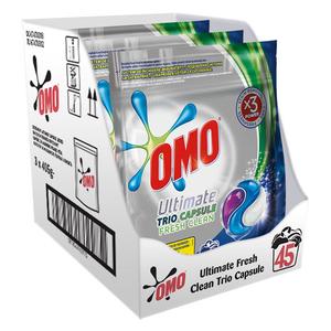 Detergent capsule OMO Ultimate Fresh Clean Trio Caps, 45 Spalari
