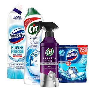 Pachet detergenti pentru curatenia casei CIF + DOMESTOS, 4 bucati