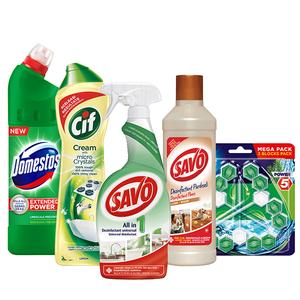 Pachet detergenti pentru curatenia casei CIF + DOMESTOS  + SAVO, 5 bucati
