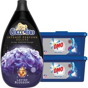Pachet detergent OMO Trio Caps Active Clean 60 Spalari + Balsam COCCOLINO Intens Lavish Blossom 58 Spalari